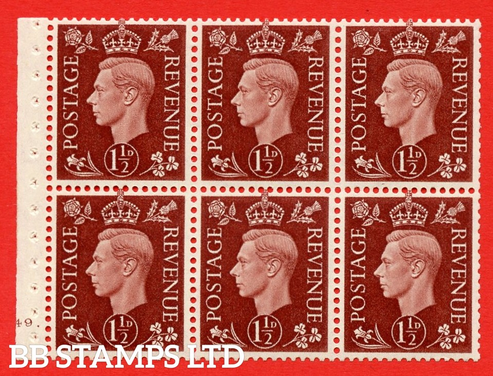 QB21 Perf Type B4A(I) 1½d Red-Brown x 6 Pane, UNMOUNTED MINT Watermark Upright. Cylinder Pane G49 dot ( SG. 464c ) Perf type B4A(I). Good Perfs.