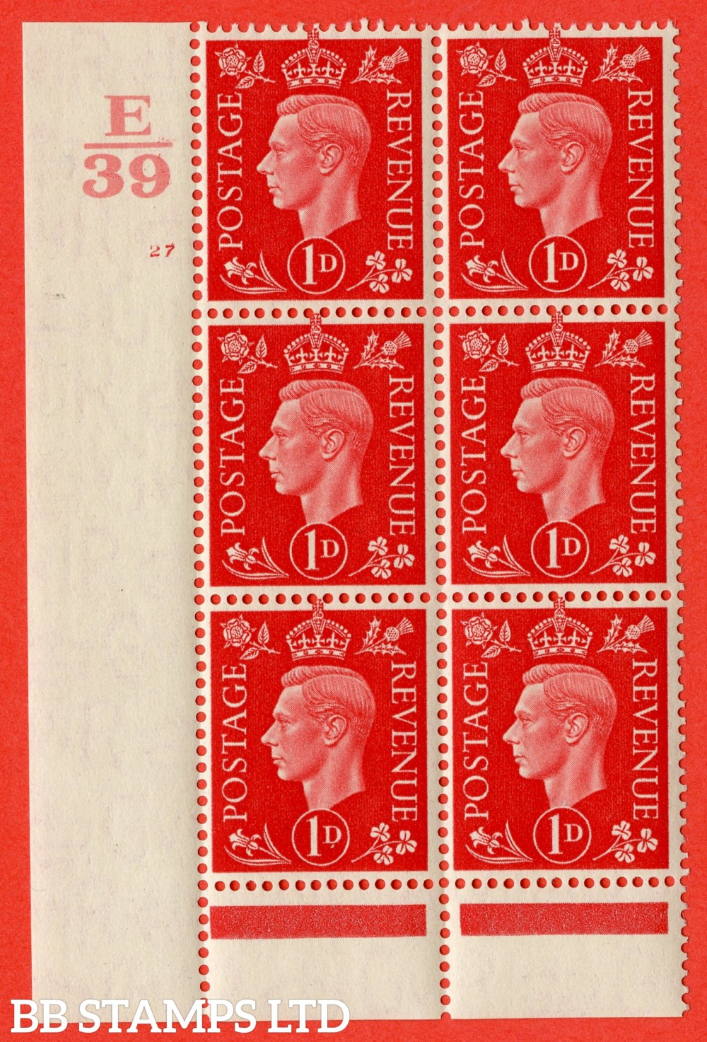 "SG. 463. Q4. 1d Scarlet. A superb UNMOUNTED MINT"" Control E39 cylinder 27 no dot "" block of 6 with perf type 6 I/P."