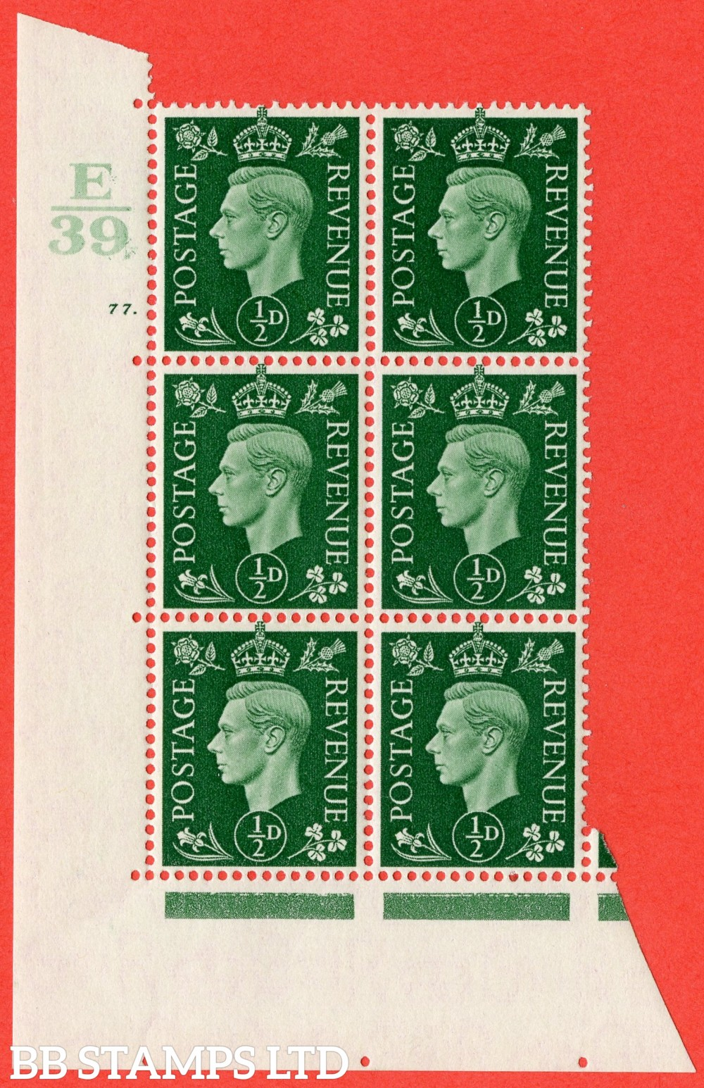 "SG. 462. Q1. ½d Green. A superb UNMOUNTED MINT "" Control E39 cylinder 77 dot "" block of 6 with perf type 5 E/I."