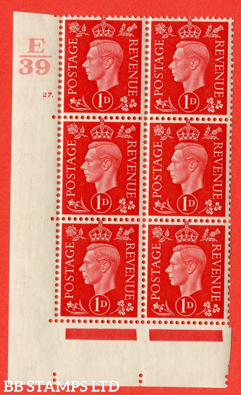 "SG. 463. Q4. 1d Scarlet. A superb UNMOUNTED MINT "" Control E39 cylinder 27 dot "" block of 6 with perf type 5 E/I."
