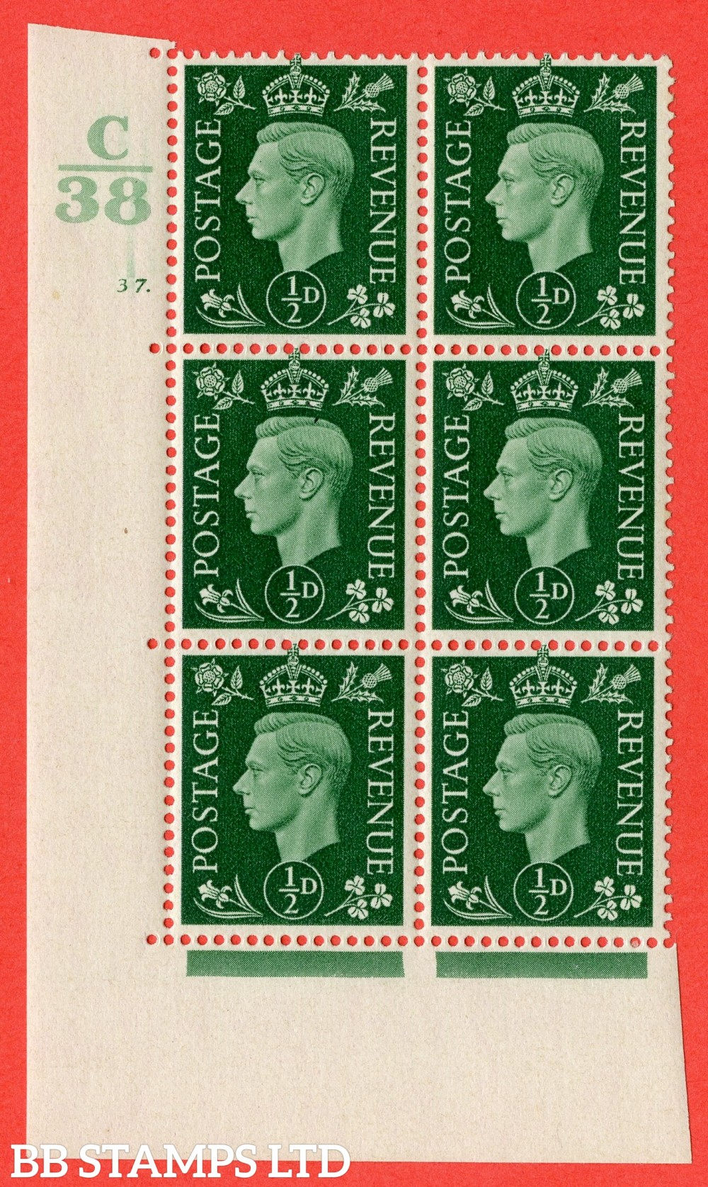 "SG. 462. Q1. ½d Green. A fine lightly mounted mint "" Control C38 cylinder 37 dot "" block of 6 with perf type 5 E/I."