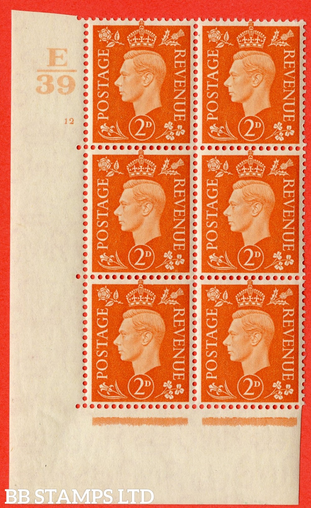 "SG. 465. Q10. 2d Orange. A fine lightly mounted mint "" Control E39 cylinder 12 no dot "" control block of 6 with perf type 5 E/I."