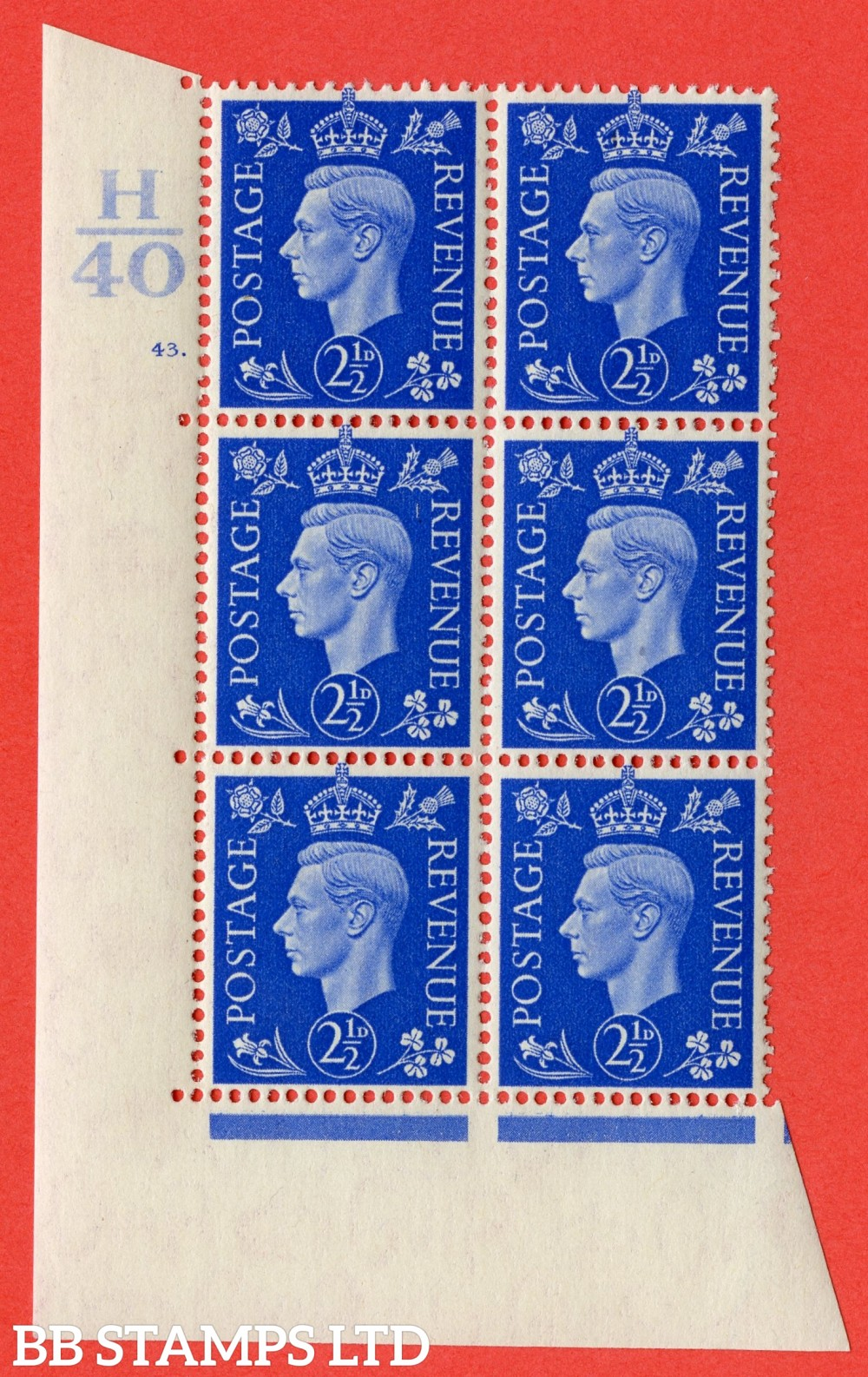 "SG. 466. Q13. 2½d Ultramarine. A superb UNMOUNTED MINT "" Control H40 cylinder 43 dot "" control block of 6 with perf type 5 E/I."