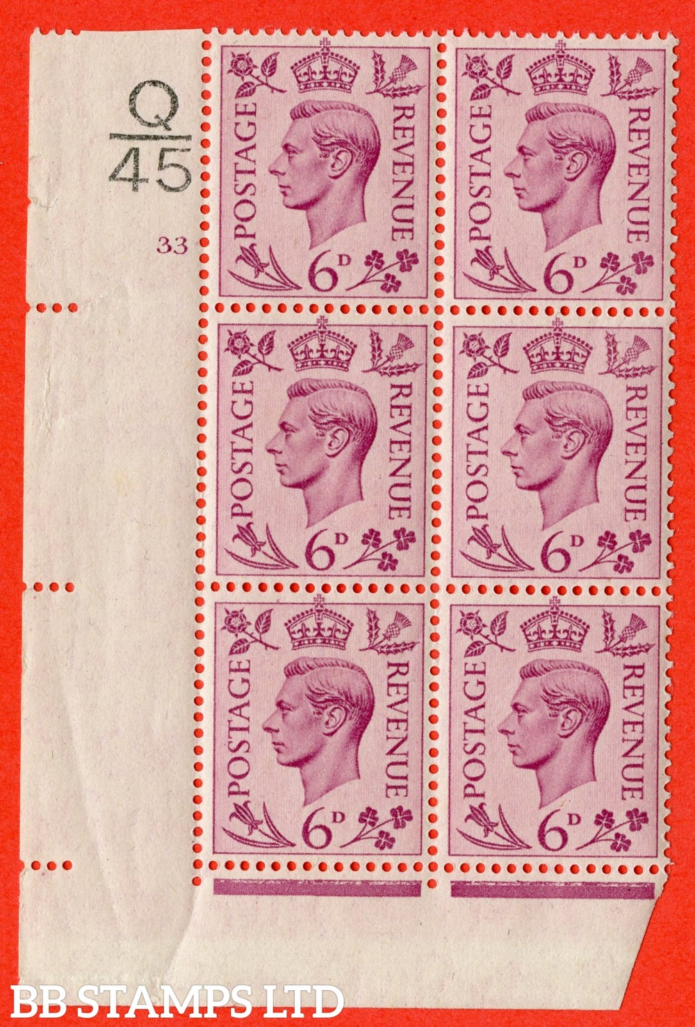 """SG. 470. Q22. 6d Purple. A superb UNMOUNTED MINT  """" Control Q45 cylinder 33 no dot """" control block of 6 with perf type 2 E/I"""