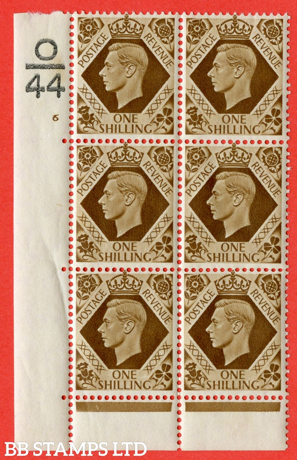 "SG. 475. Q28. 1/- Bistre-Brown. A superb UNMOUNTED MINT "" Control  O44 cylinder 6 no dot "" control block of 6 with perf type 6B E/P."