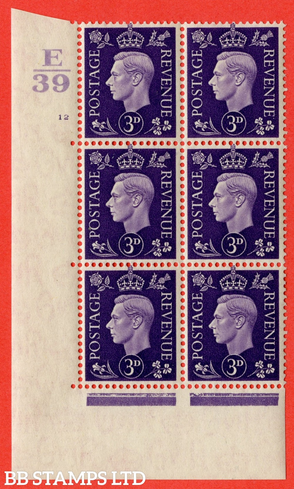 """SG. 467. Q16. 3d Violet. A fine lightly mounted mint. """" Control E39 cylinder 12 no dot """" control block of 6 with perf type 5 E/I."""