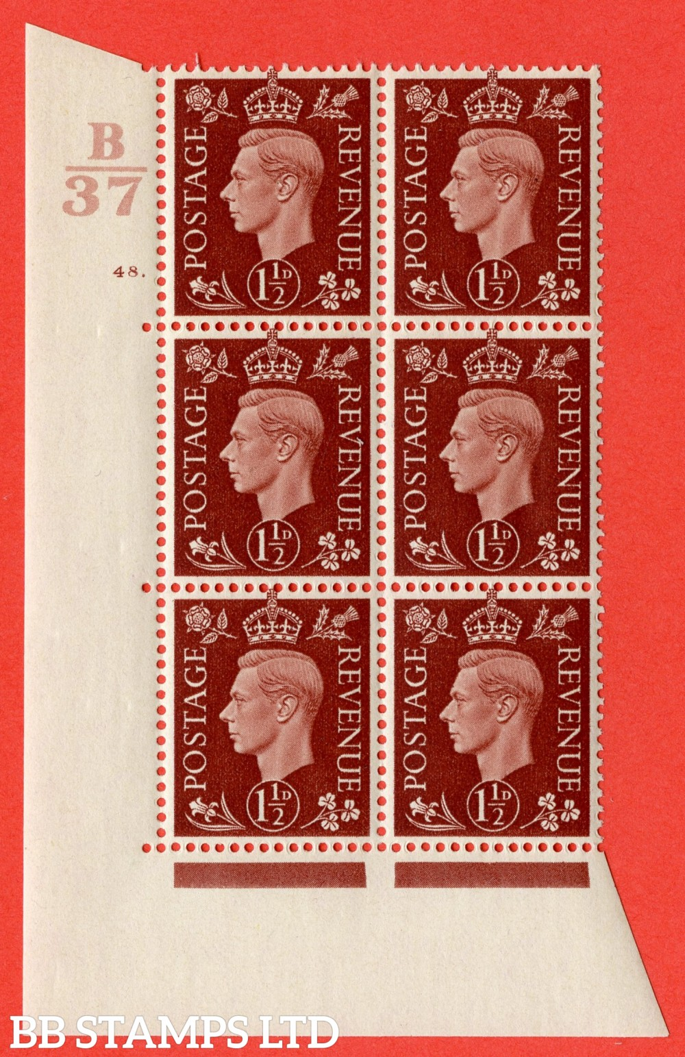 """SG. 464. Q7. 1½d Red-Brown. A fine lightly mounted mint """" Control B37 cylinder 48 dot """" block of 6 with perf type 5 E/I."""