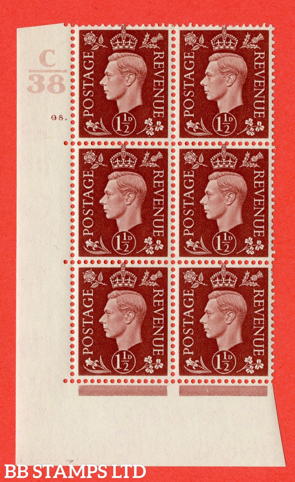 """SG. 464. Q7. 1½d Red-Brown. A fine lightly mounted mint """" Control C38 cylinder 98 dot """" block of 6 with perf type 5 E/I."""