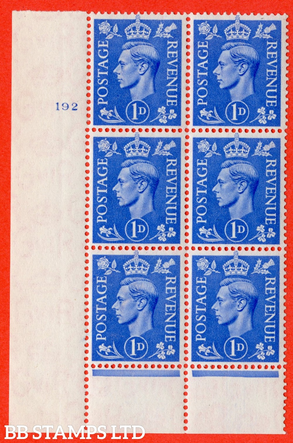 "SG. 504. Q6. 1d Light ultramarine. A superb UNMOUNTED MINT "" No Control cylinder 192 no dot "" control block of 6 with perf type 6 I/P"
