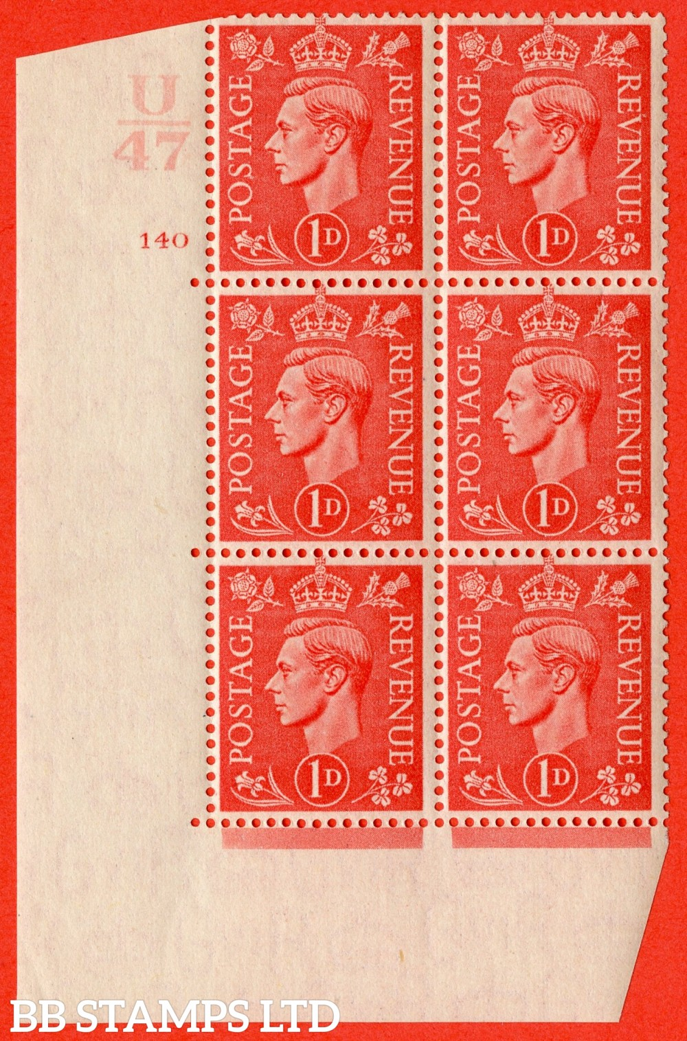 """SG. 486. Q5. 1d Pale scarlet. A fine lightly mounted mint """" Control U47  cylinder 140 no dot """" control block of 6 with perf type 5 E/I."""