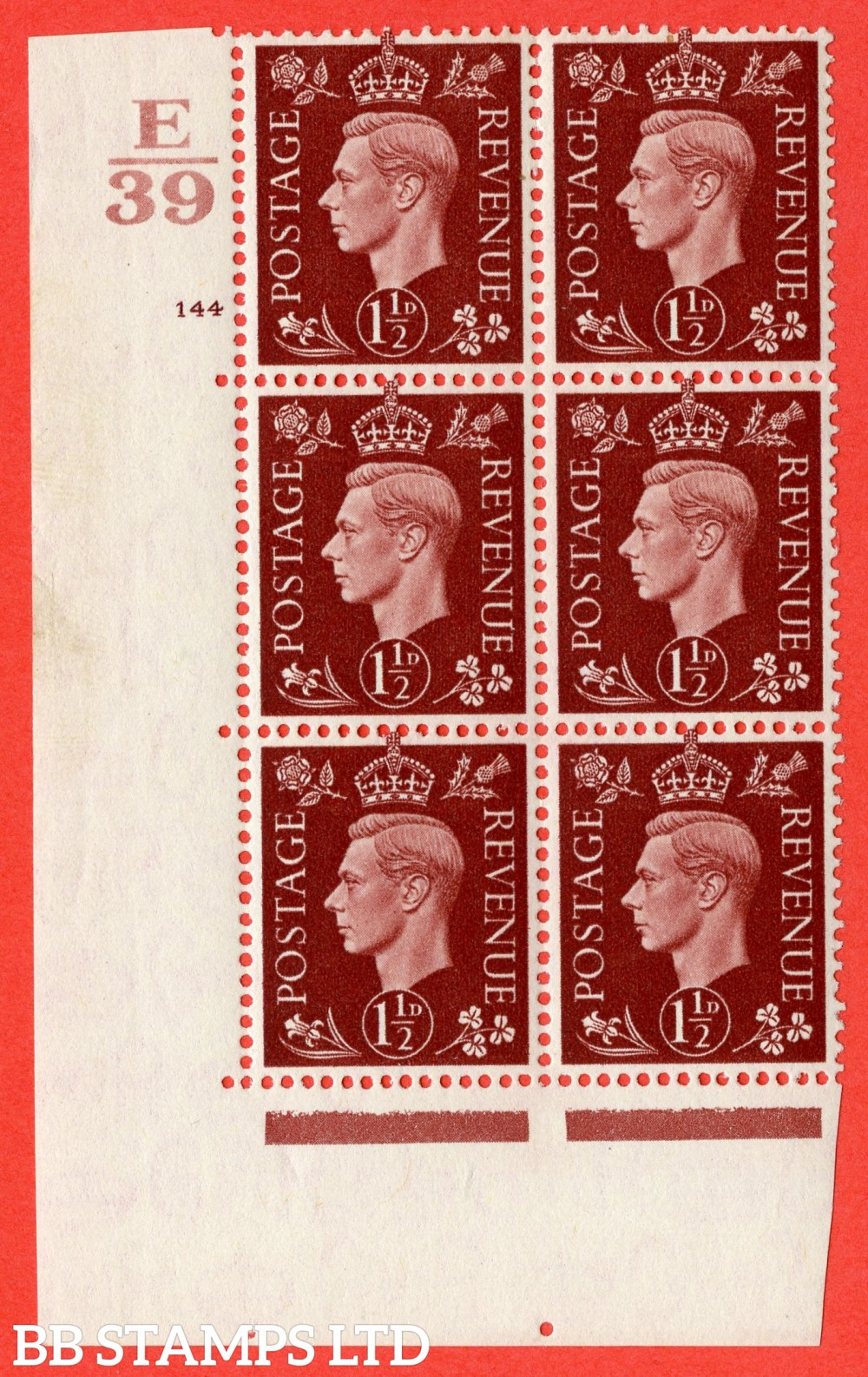 """SG. 464. Q7. 1½d Red-Brown. A fine lightly mounted mint """" Control E39 cylinder 144 no dot """" block of 6 with perf type 5 E/I."""