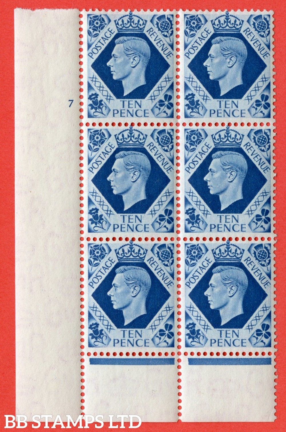 "SG. 474. Q26. 10d Turquoise-Blue. A fine lightly mounted mint "" No Control cylinder 7 no dot "" control block of 6 with perf type 6 I/P."