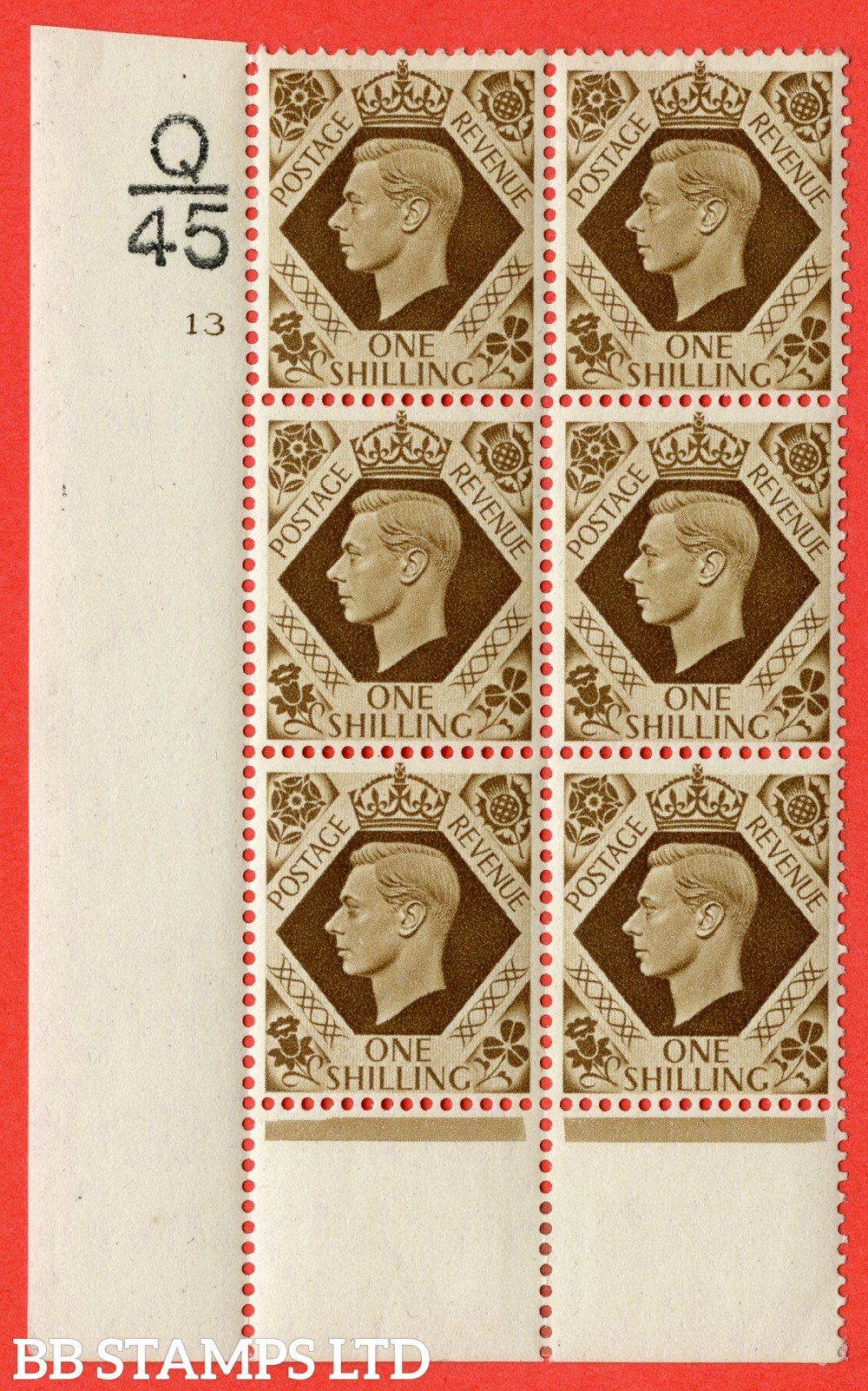 """SG. 475. Q28. 1/- Bistre-Brown. A fine lightly  mounted mint """" Control  Q45 cylinder 13 no dot """" control block of 6 with perf type 6 I/P"""