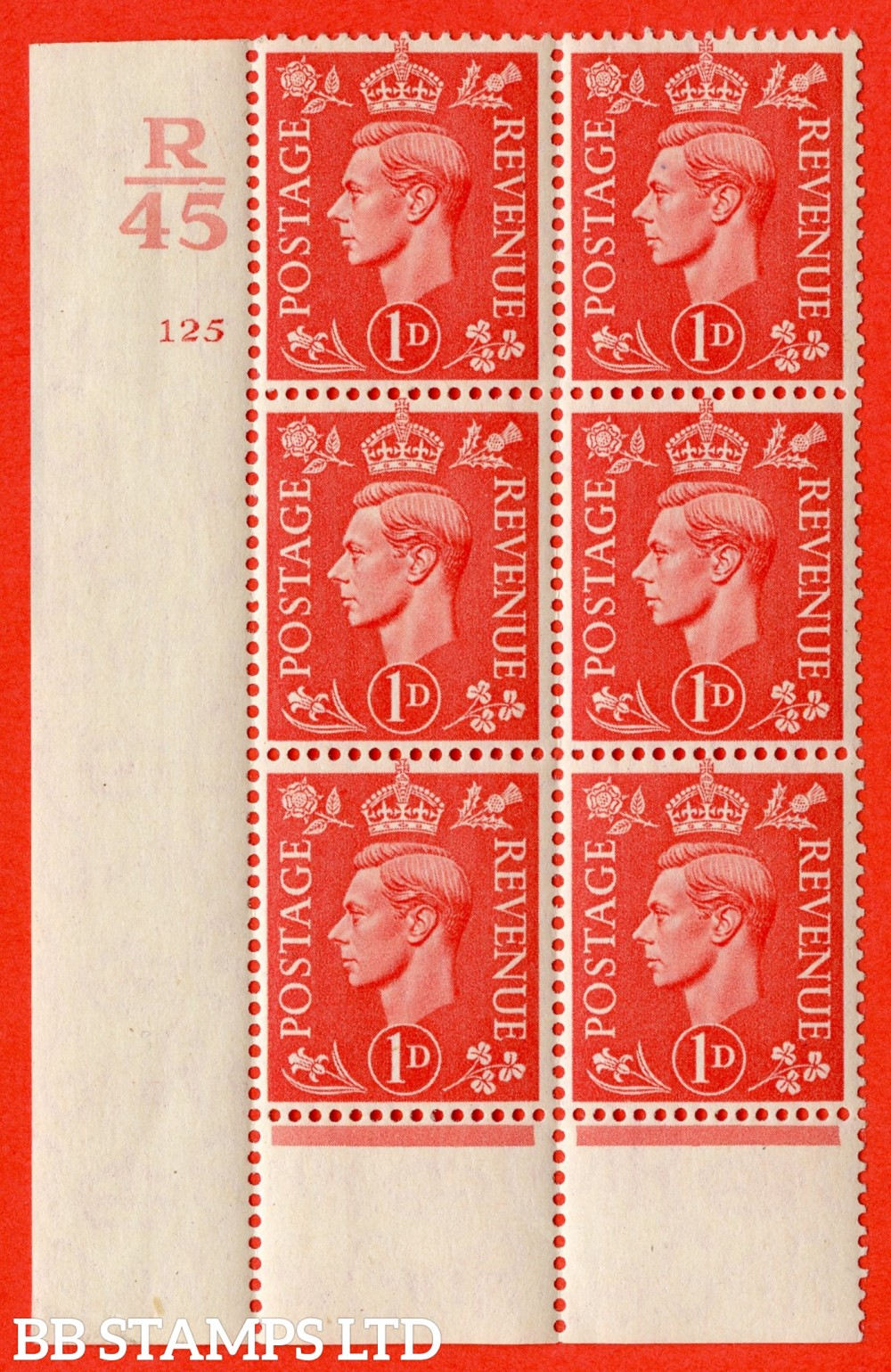 "SG. 486. Q5. 1d Pale scarlet. A fine lightly mounted mint "" Control R45  cylinder 125 no dot "" control block of 6 with perf type 6 I/P."