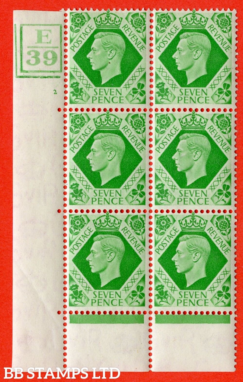 """SG. 471. Q23. 7d Emerald-Green. Afine lightly mounted mint """" Control E39. box and 2 Bars. Cylinder 2 no dot """" control block of 6 with perf type 6B E/P."""