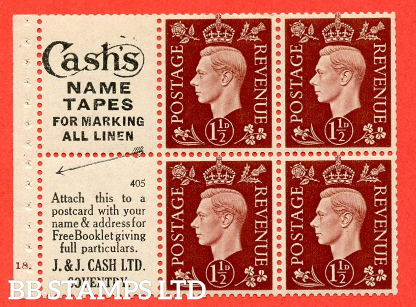 """QB23 Perf Type B4A(I) (1) No.405 1½d Red-Brown x 6 Pane, MOUNTED MINT. Cylinder Pane G18 dot. ( SG. 464b) Perf type B4A(I). """" Cash's name tapes J. & J. Cash Ltd. / Coventry """" at foot. Trimmed Perfs."""