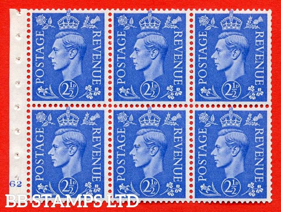 """SG. 489f. QB33. 2½d blue. A fine UNMOUNTED MINT complete Cylinder pane of 6 J62 No dot. Perf type """"B3(I)"""". Good Perfs."""