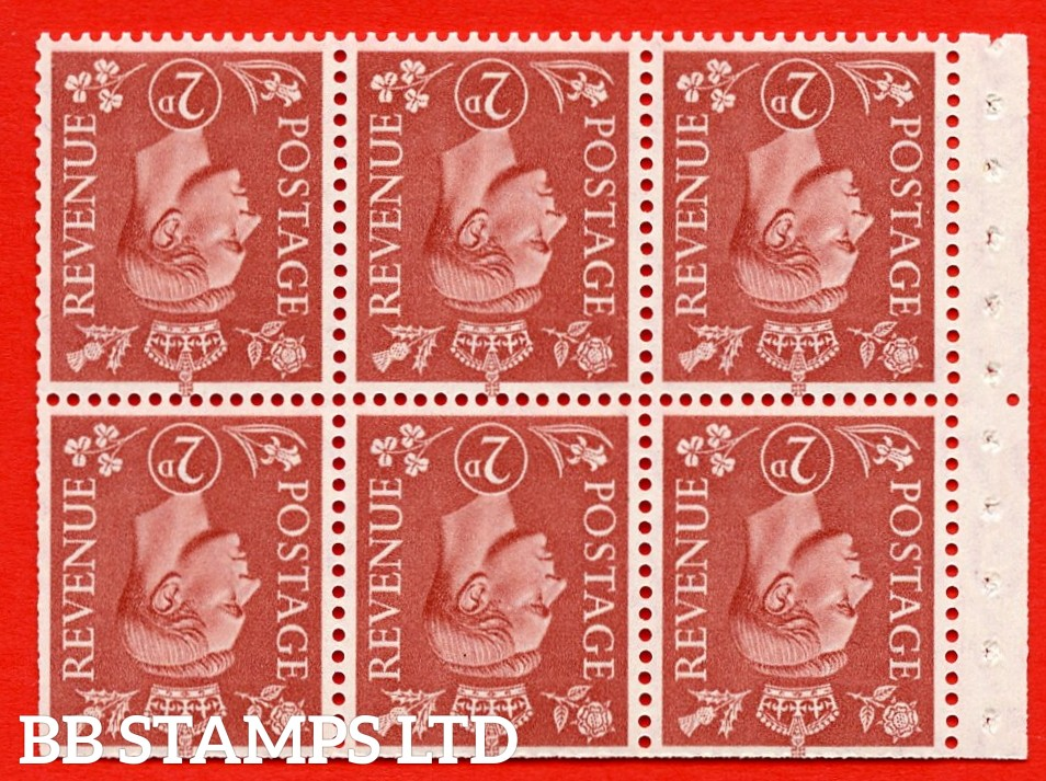 """SG. 506dw. QB31a. 2d pale red brown. A superb UNMOUNTED MINT. INVERTED WATERMARK complete booklet pane. Perf type """" Iem """". Trimmed Perfs."""