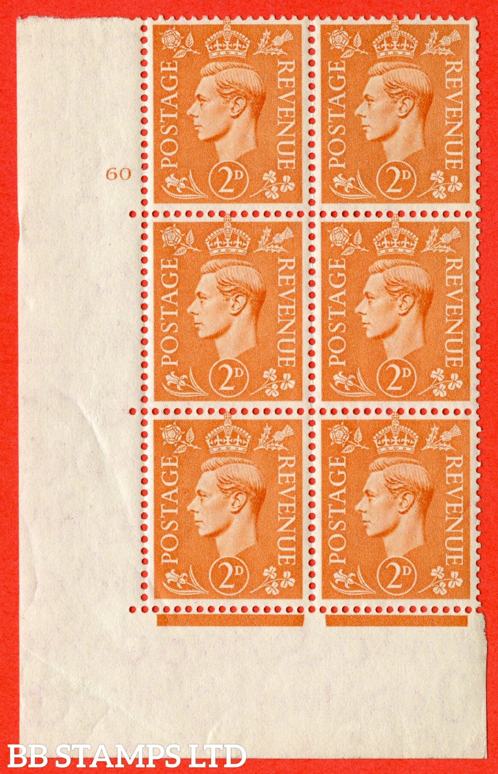 "SG. 488. Q11. 2d Pale Orange. A superb UNMOUNTED MINT "" No Control cylinder 60 no dot "" control block of 6 with perf type 5 E/I"