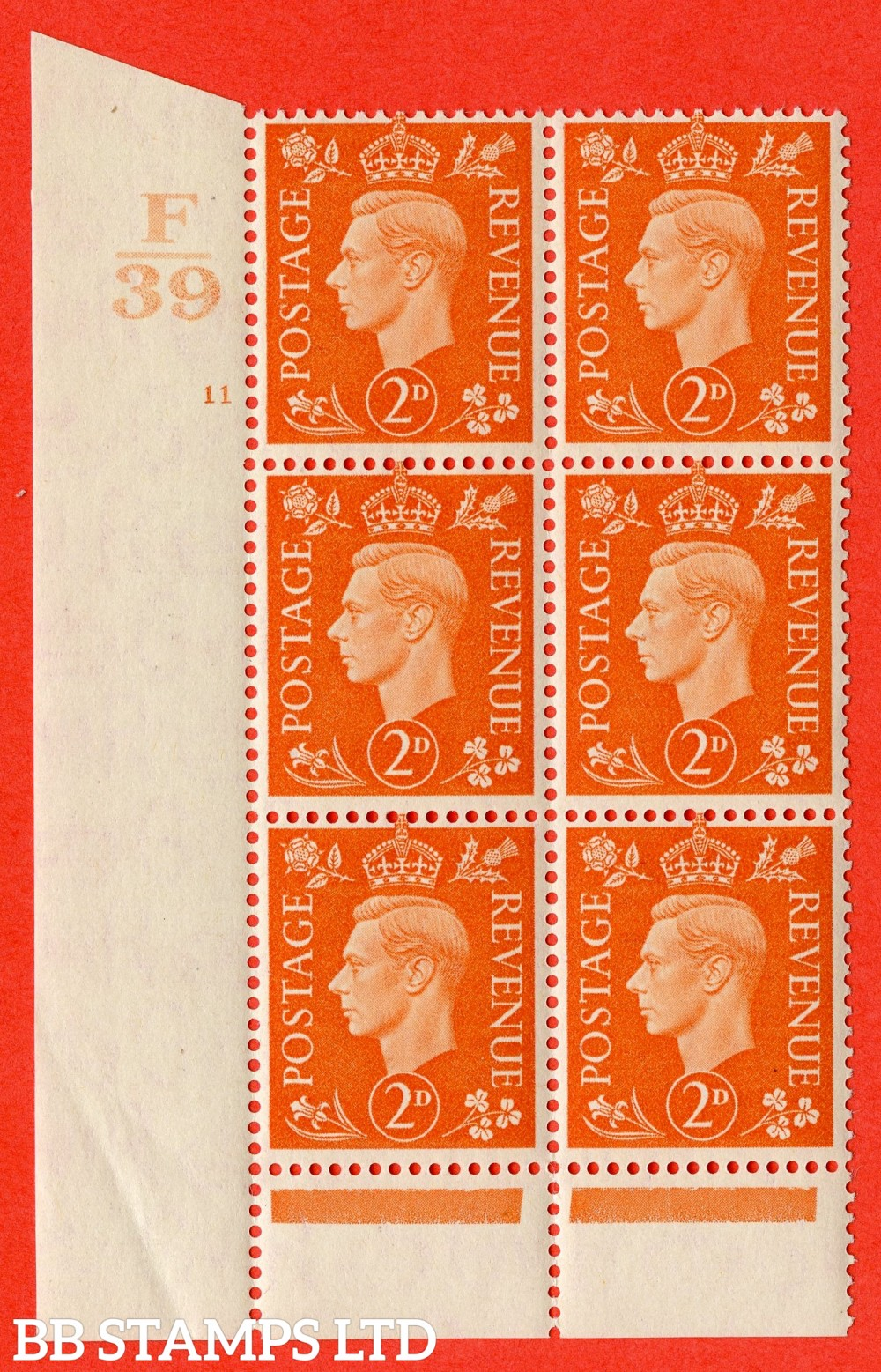 "SG. 465. Q10. 2d Orange. A superb UNMOUNTED MINT "" Control F39 cylinder 11 no dot "" control block of 6 with perf type 6 I/P."