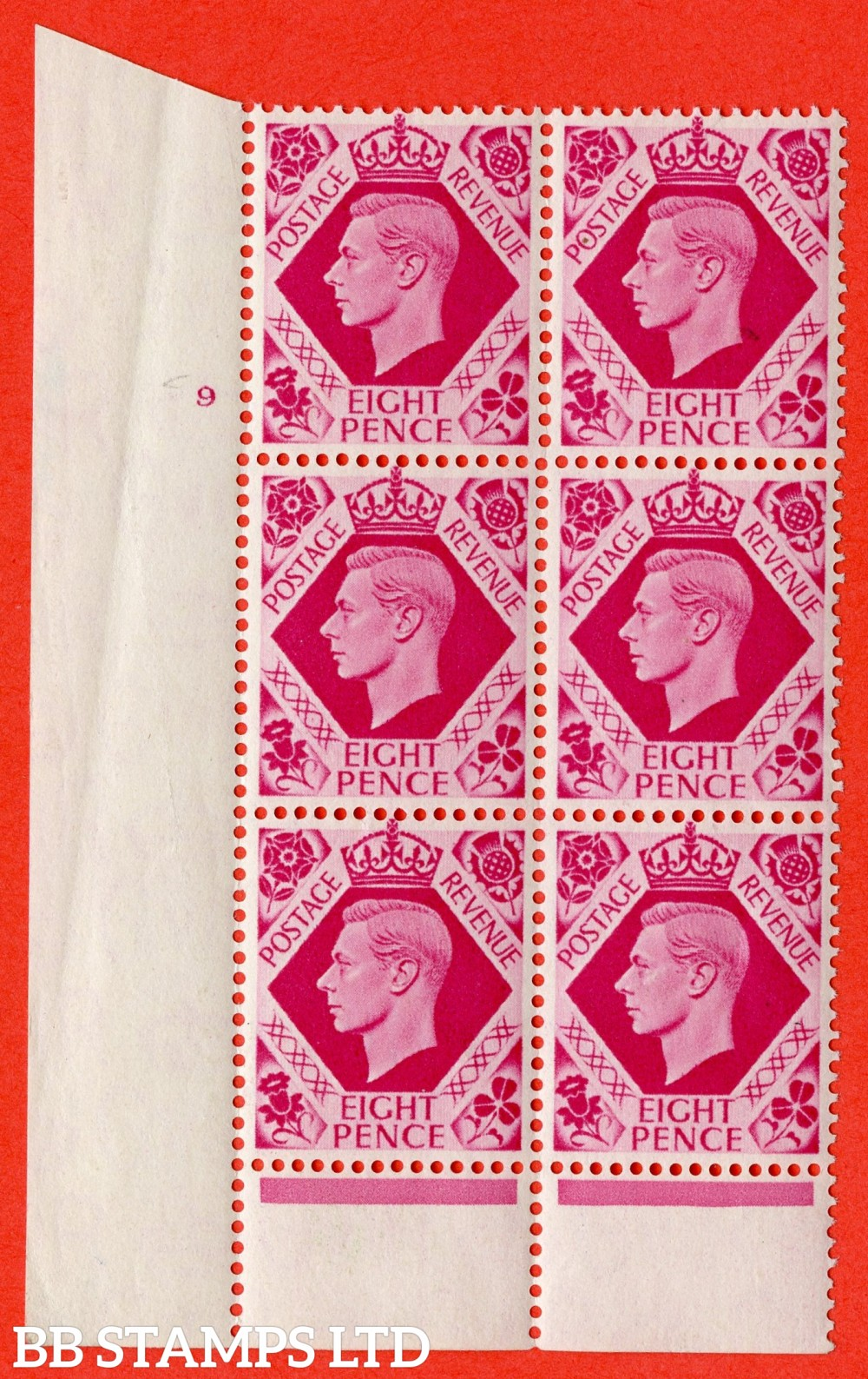 "SG. 472. Q24. 8d Bright Carmine. A fine lightly mounted mint "" No Control. Cylinder 9 no dot "" control block of 6 with perf type 6 I/P"
