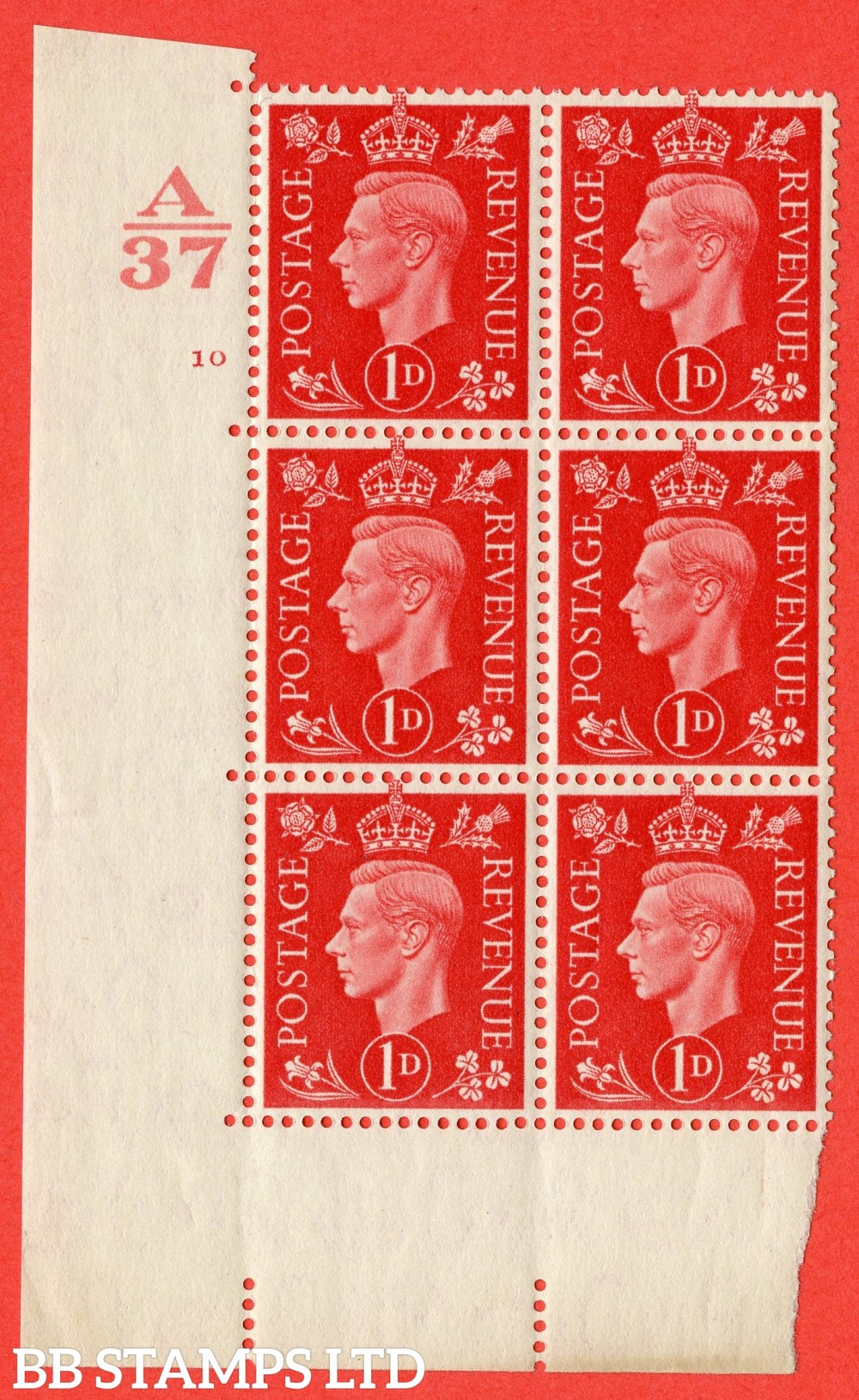 """SG. 463. Q4. 1d Scarlet. A superb UNMOUNTED MINT """" Control A37 cylinder 10 no dot """" block of 6 with perf type 5 E/I without marginal rule."""