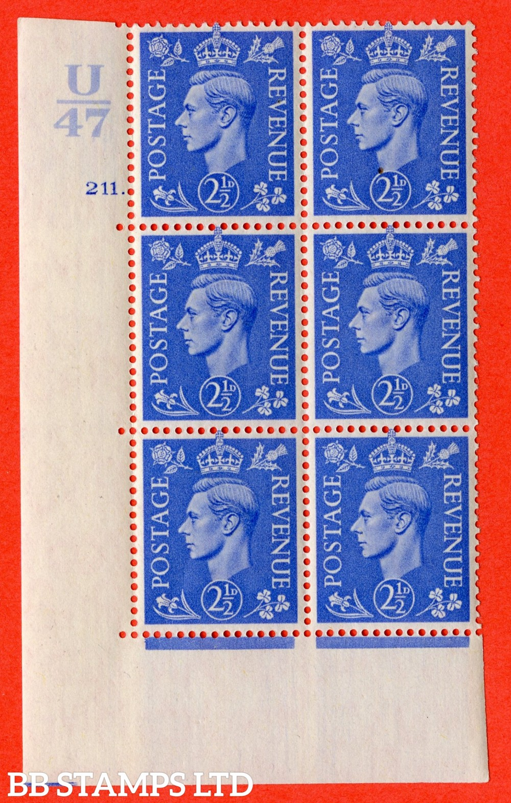 "SG. 489. Q14. 2½d Light ultramarine. A superb UNMOUNTED MINT "" Control U47 cylinder 211 dot "" control block of 6 with perf type 5 E/I"