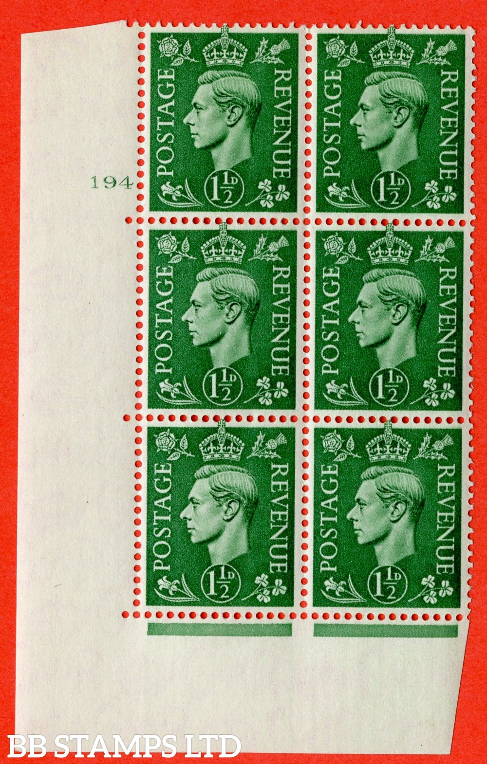 "SG. 505. Q9. 1½d Pale Green. A superb UNMOUNTED MINT "" No Control cylinder 194 no dot "" control block of 6 with perf type 5 E/I"