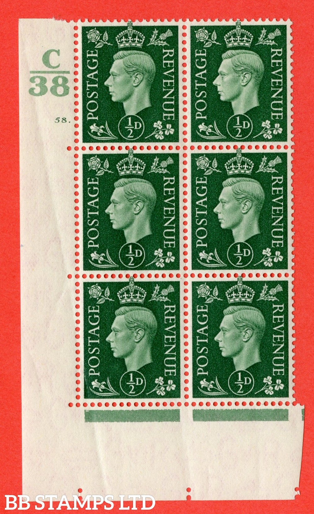 "SG. 462. Q1. ½d Green. A superb UNMOUNTED MINT "" Control C38 cylinder 58 dot "" block of 6 with perf type 5 E/I with marginal rule."