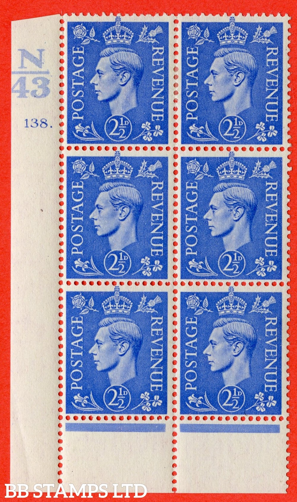 "SG. 489. Q14. 2½d Light ultramarine. A fine mounted mint "" Control N43 cylinder 138 dot "" control block of 6 with perf type 6 I/P."