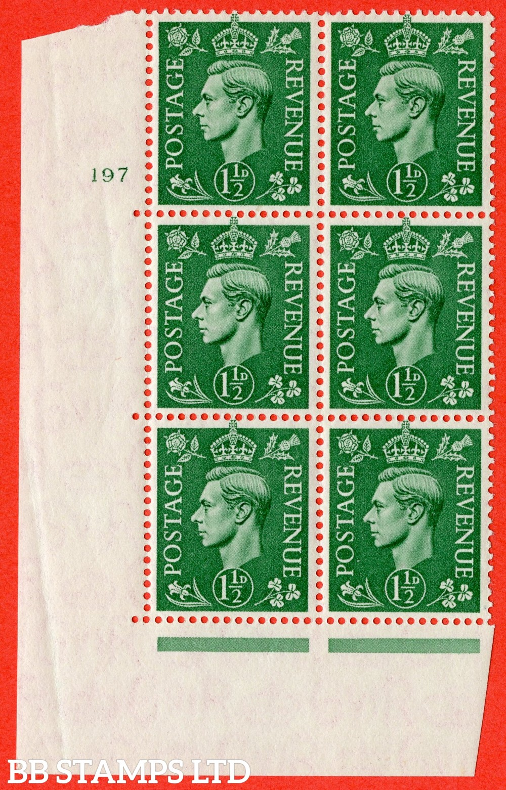 """SG. 505. Q9. 1½d Pale Green.  A fine lightly mounted mint """" No Control cylinder 197 no dot """" control block of 6 with perf type 5 E/I."""