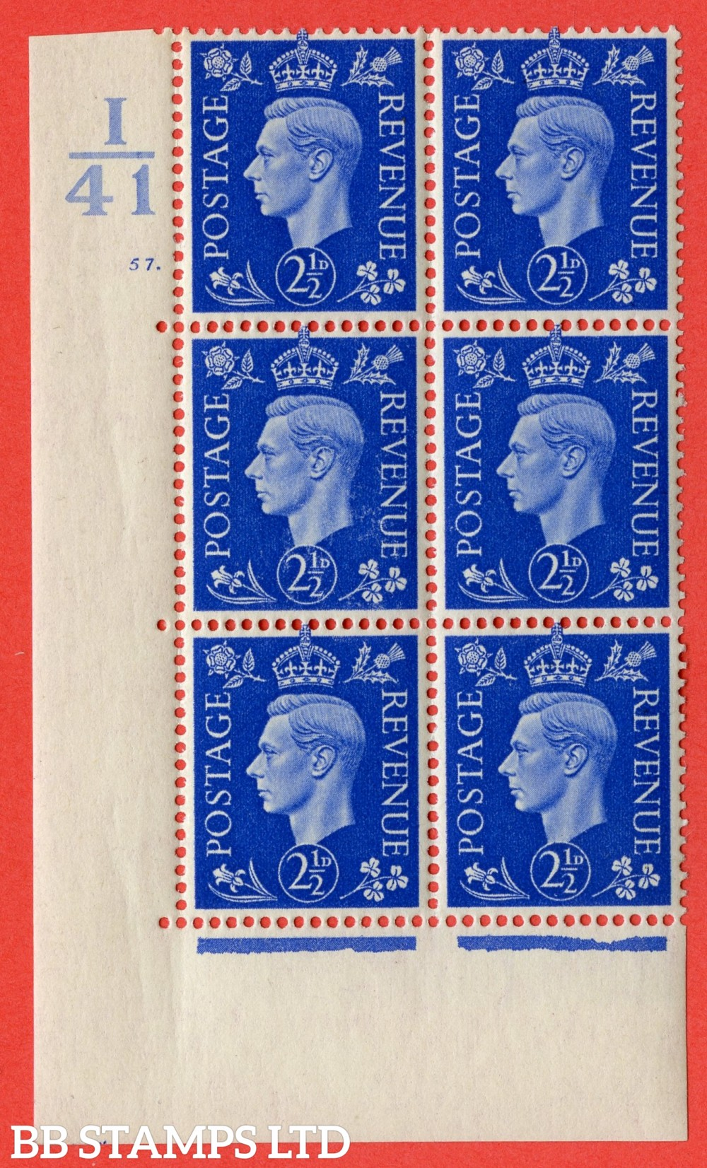 "SG. 466. Q13. 2½d Ultramarine. A superb UNMOUNTED MINT "" Control I41 cylinder 57 dot "" control block of 6 with perf type 5 E/I."