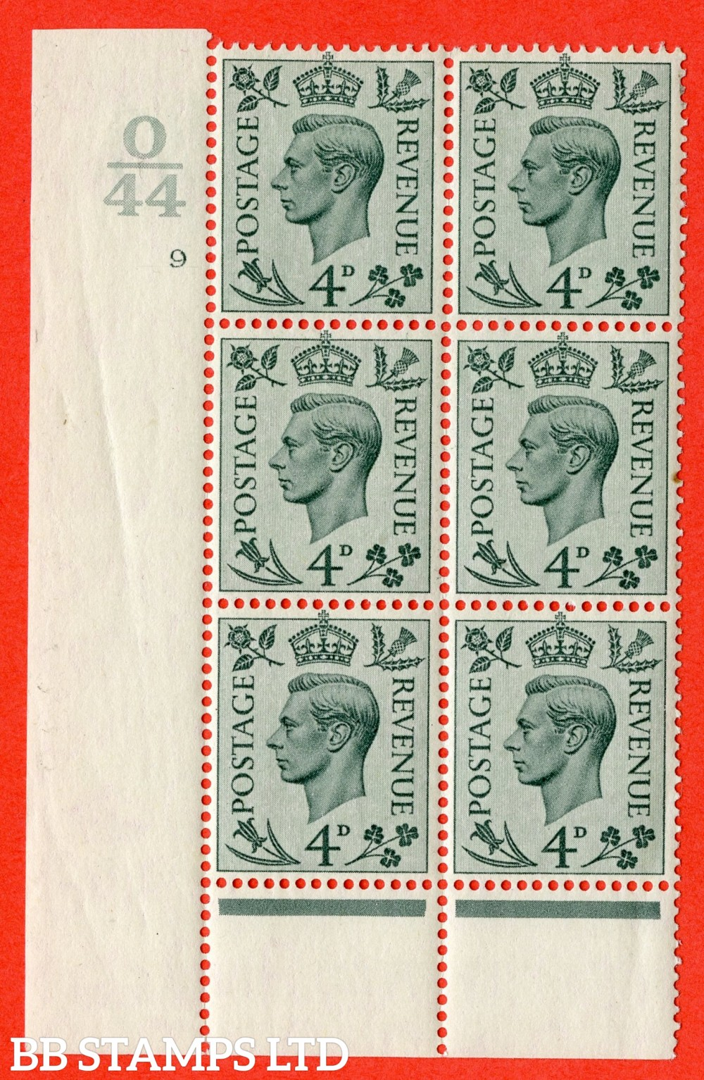"""SG. 468. Q19. 4d Grey-Green. A fine lightly mounted mint. """" Control. O44 Cylinder 9 no dot """" control block of 6 with perf type 6 I/P."""