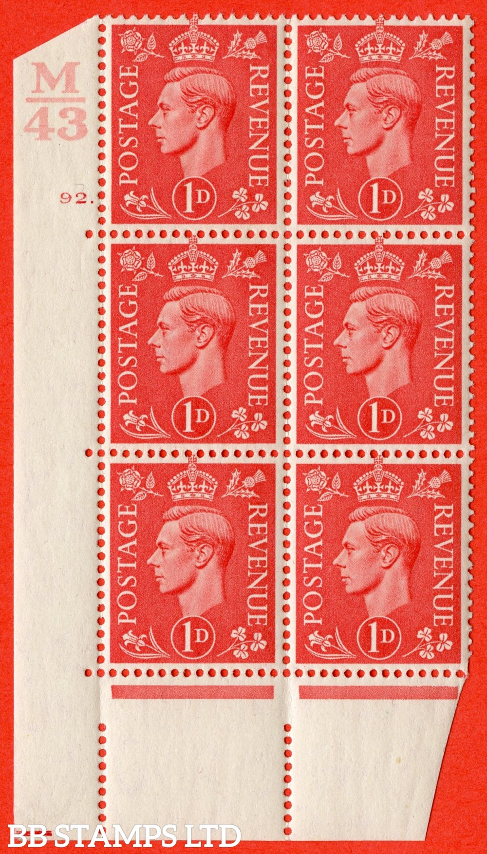 "SG. 486. Q5. 1d Pale scarlet. A superb UNMOUNTED MINT "" Control M43  cylinder 92 dot "" control block of 6 with perf type 5 E/I."