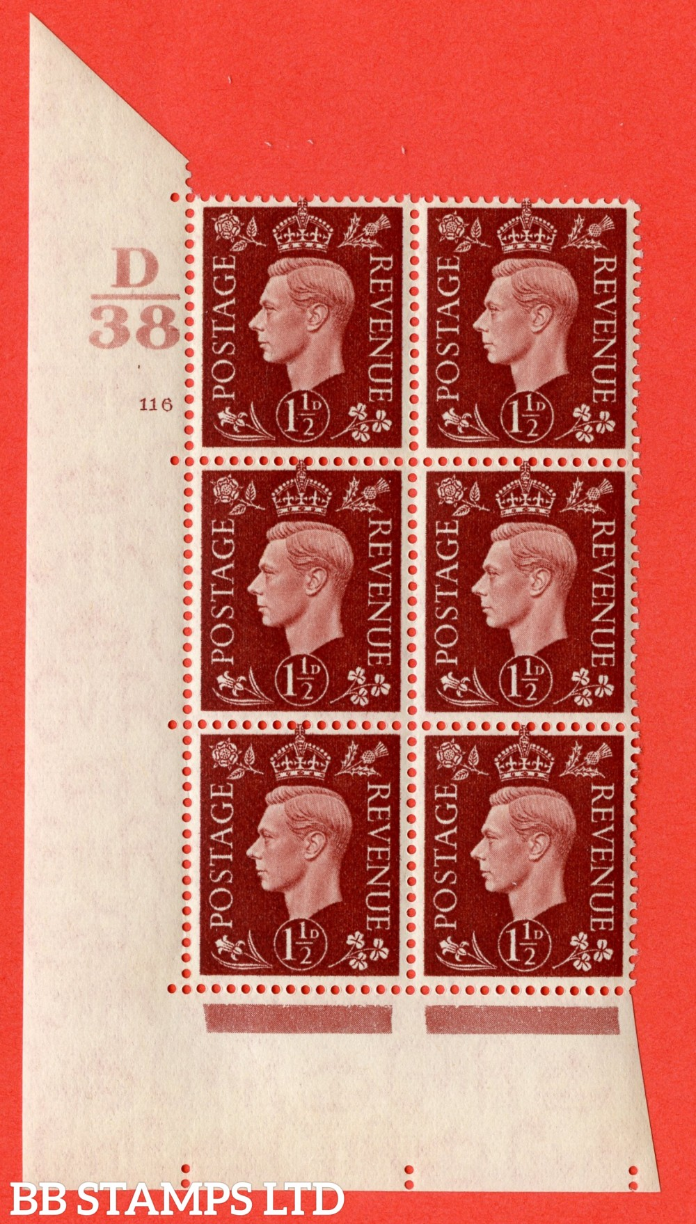 "SG. 464. Q7. 1½d Red-Brown. A superb UNMOUNTED MINT "" Control D38 cylinder 116 no dot "" block of 6 with perf type 5 E/I."
