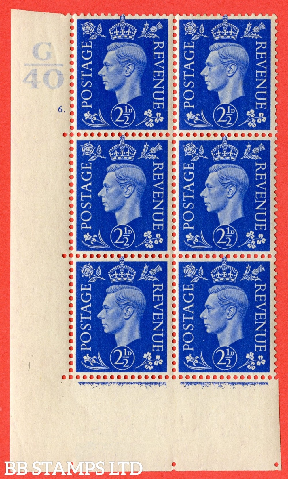"SG. 466. Q13. 2½d Ultramarine. A fine lightly mounted mint "" Control G40 cylinder 6 (i) dot "" control block of 6 with perf type 5 E/I."