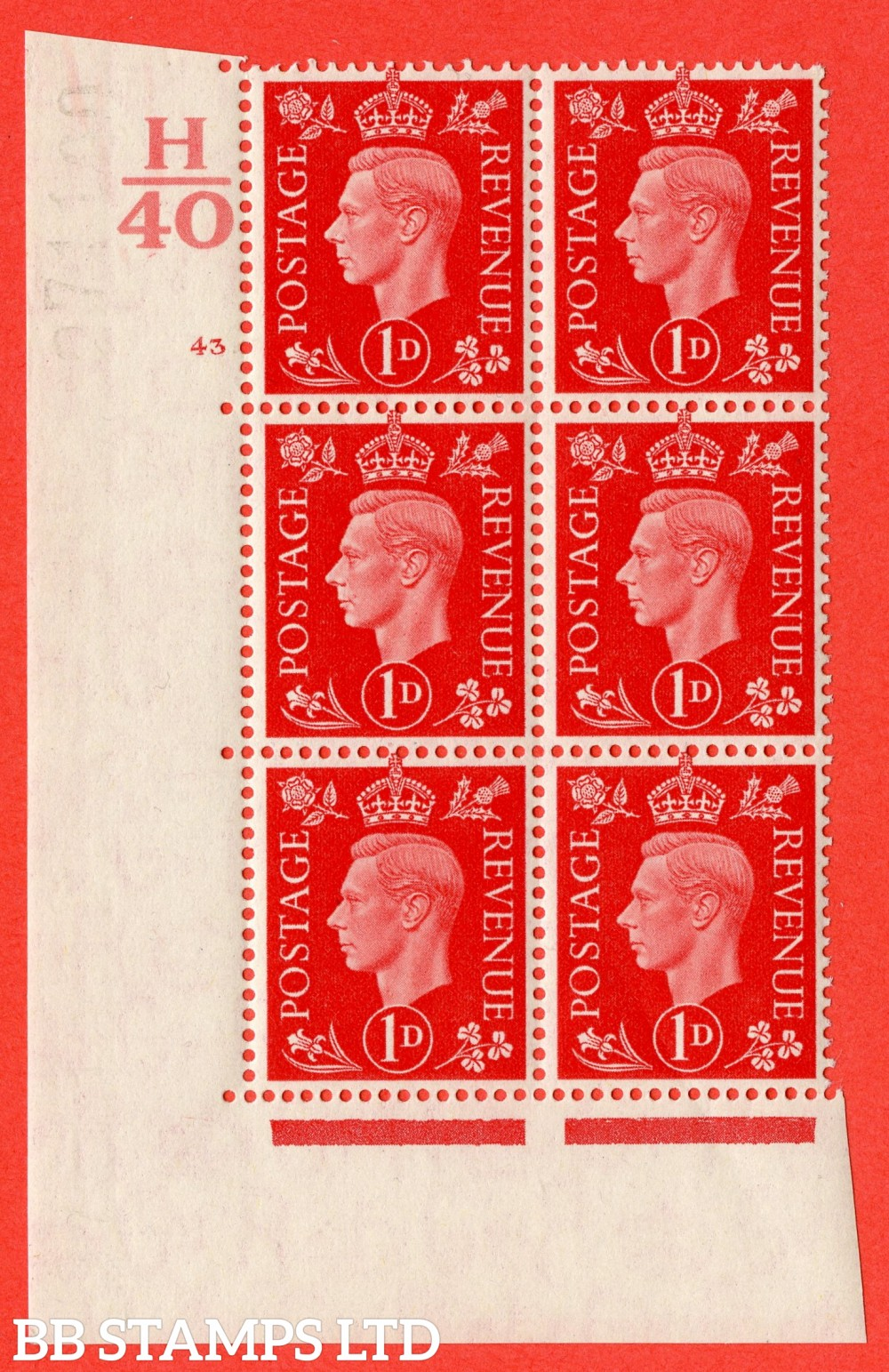"SG. 463. Q4. 1d Scarlet. A superb UNMOUNTED MINT "" Control H40 cylinder 43 no dot "" block of 6 with perf type 5 E/I."