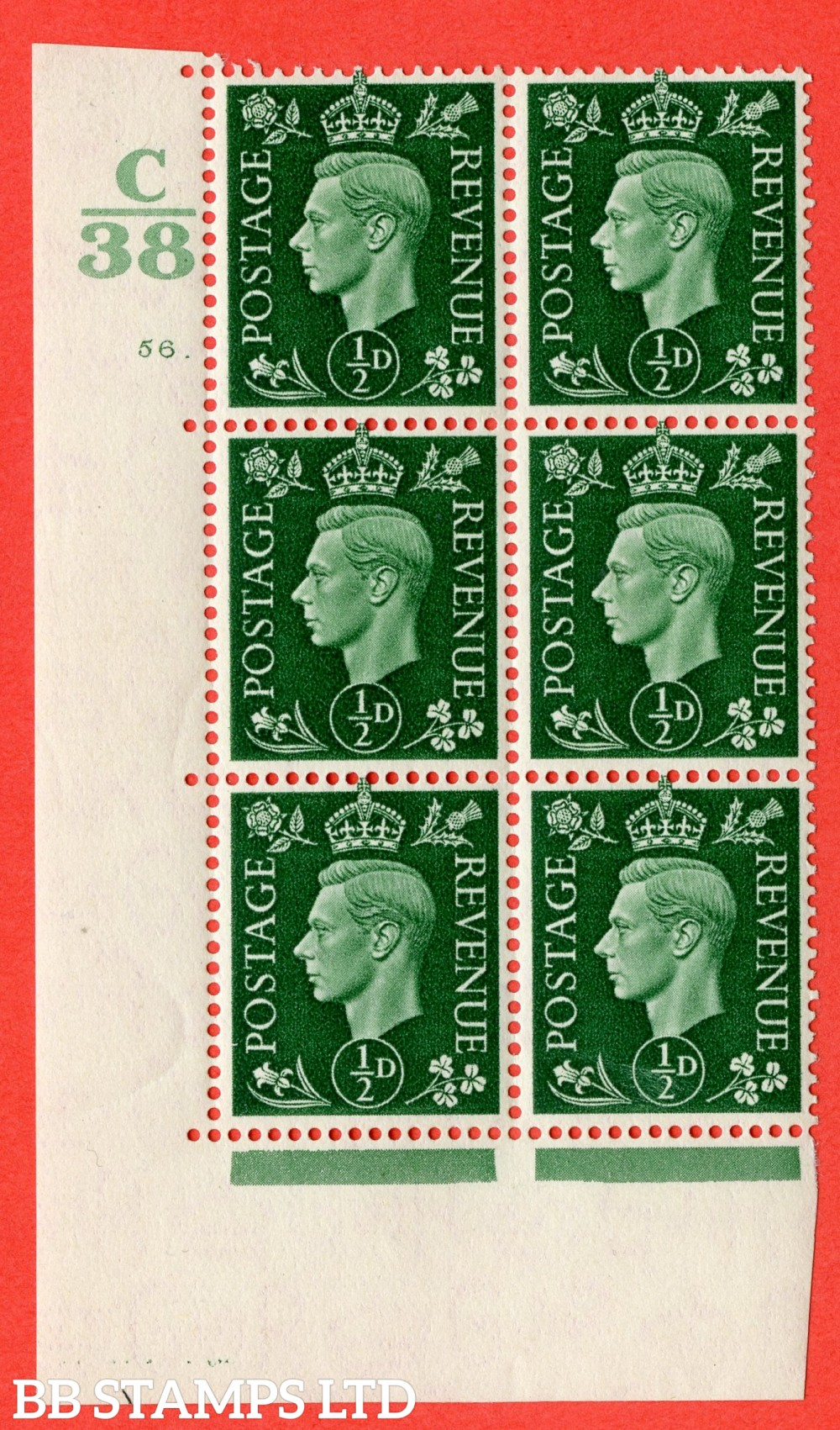 "SG. 462. Q1. ½d Green. A superb UNMOUNTED MINT "" Control C38 cylinder 56 dot "" block of 6 with perf type 5 E/I."