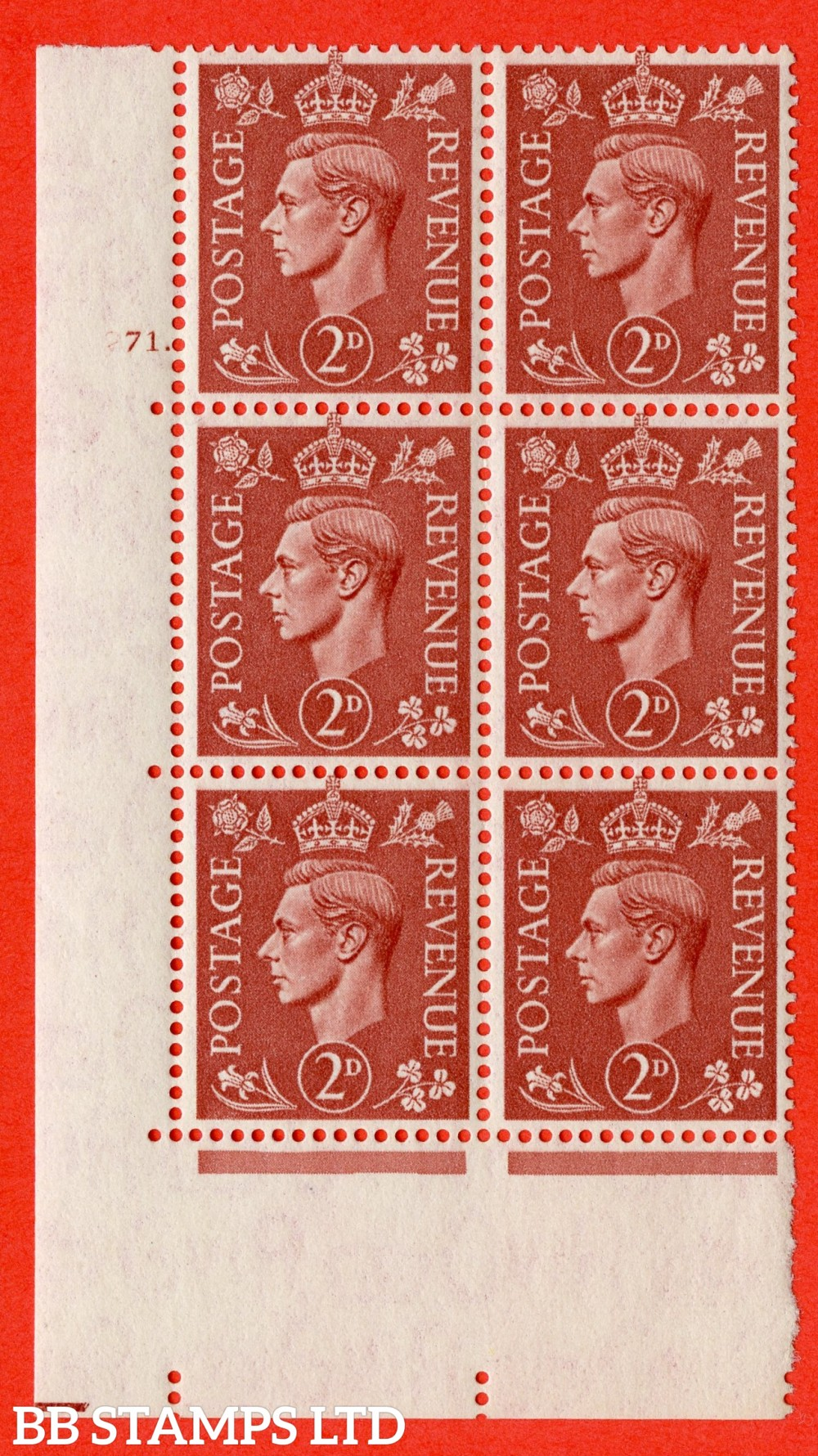 "SG. 506. Q12. 2d Pale Red-Brown. A superb UNMOUNTED MINT "" No Control cylinder 71 dot "" control block of 6 with perf type 5 I/E."