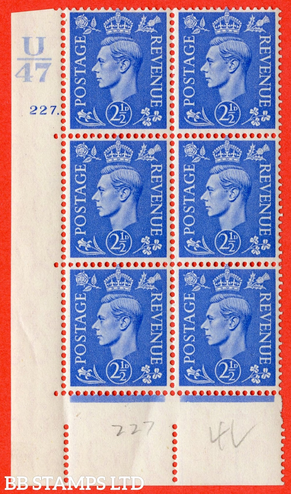 "SG. 489. Q14. 2½d Light ultramarine. A superb UNMOUNTED MINT "" Control U47 cylinder 227 dot "" control block of 6 with perf type 5 E/I"
