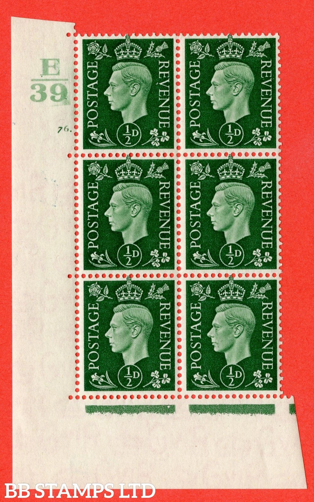 "SG. 462. Q1. ½d Green. A superb UNMOUNTED MINT "" Control E39 cylinder 76 dot "" block of 6 with perf type 5 E/I with marginal rule."