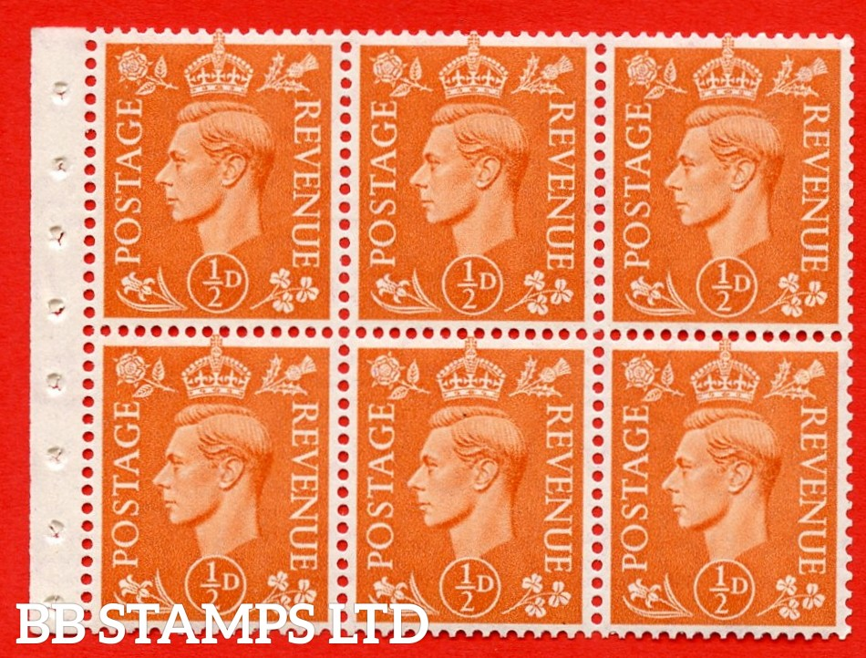 """SG. 503d. QB7. ½d orange. A fine UNMOUNTED MINT complete booklet pane of 6. Perf type """" I """". Good Perfs."""