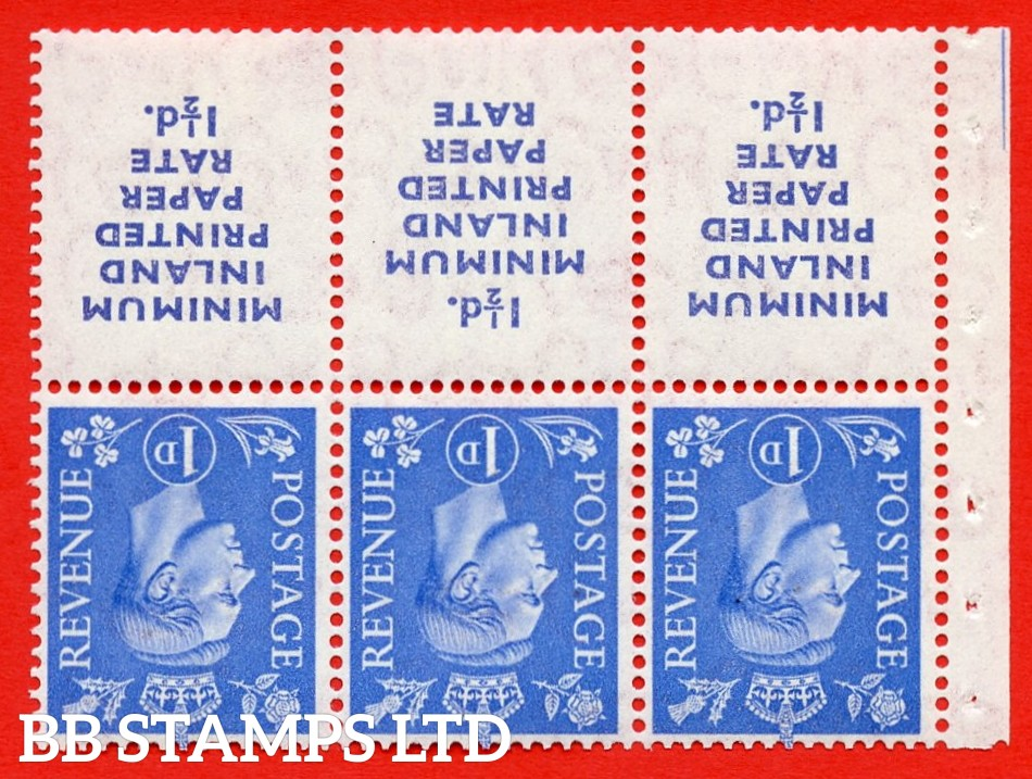 """SG. 504dw. QB19a. 1d ultramarine. A fine UNMOUNTED MINT. INVERTED WATERMARK complete booklet pane """" MINIMUM INLAND PRINTED PAPER RATE """" 15 mm high """". Perf type """" Iet """". Good Perfs."""