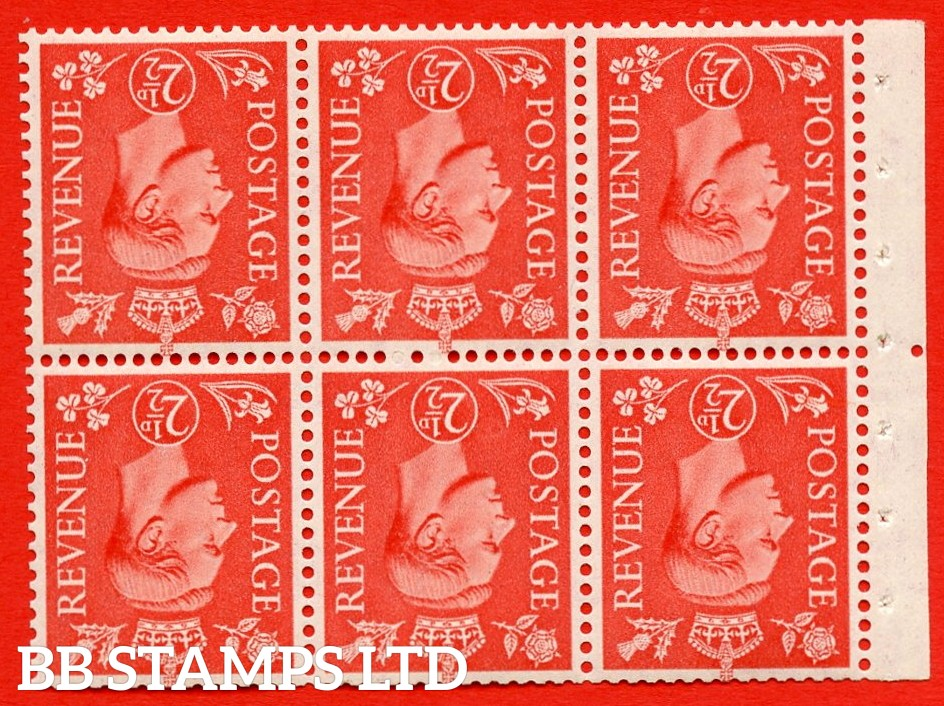 """SG. 507cw. QB34a. 2½d pale scarlet. A fine UNMOUNTED MINT Booklet pane of 6. Perf type """" Iem """". Trimmed Perfs."""