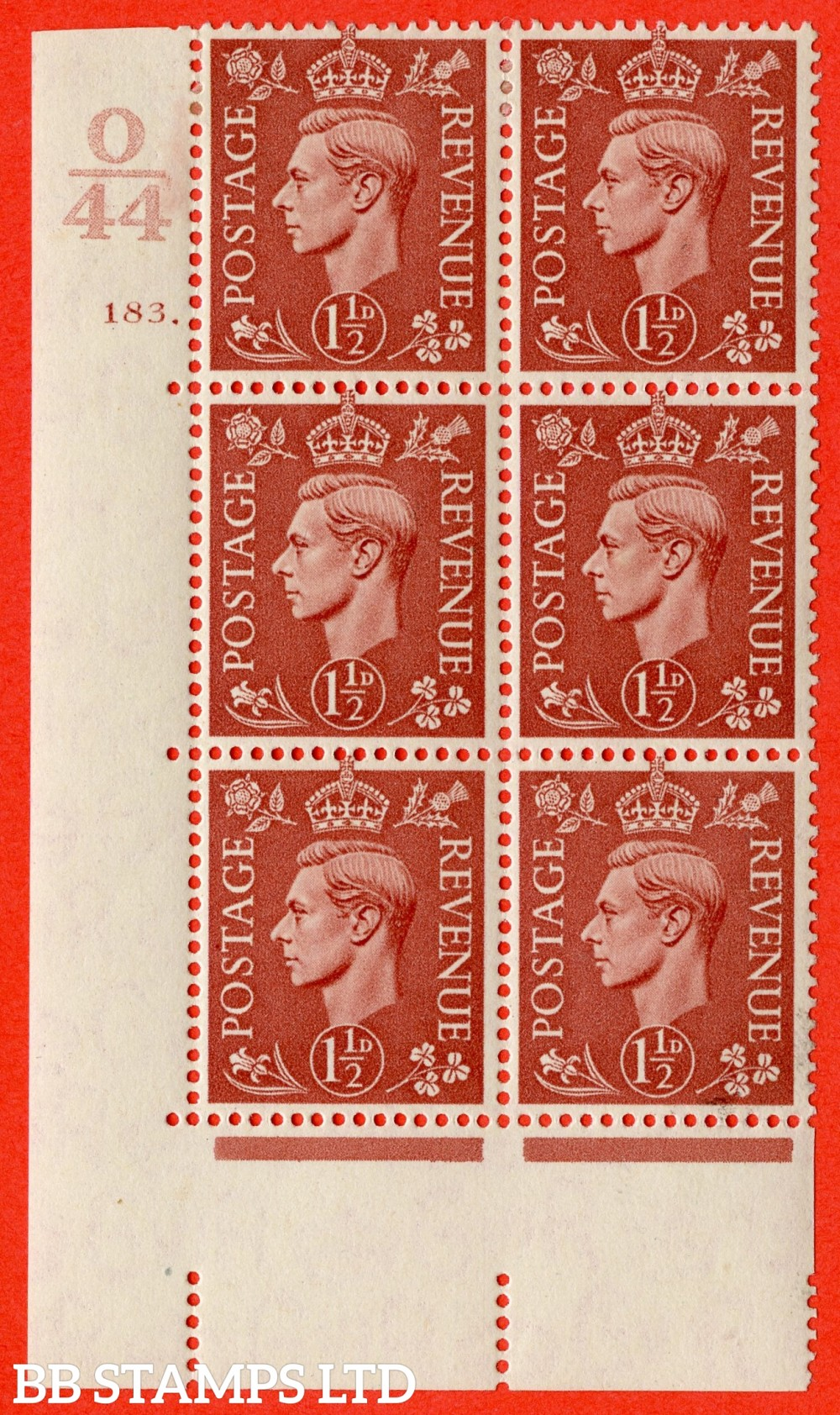 "SG. 487. Q8. 1½d Pale Red-Brown. A fine lightly mounted mint "" Control O44 cylinder 183 dot "" control block of 6 with perf type 5 E/I."