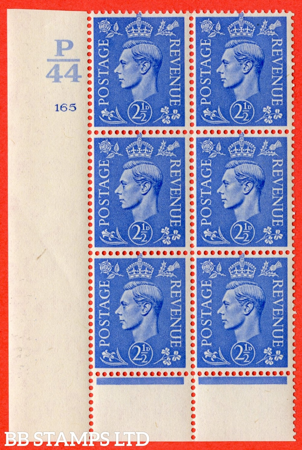 "SG. 489. Q14. 2½d Light ultramarine. A suberb UNMOUNTED MINT "" Control  P44 cylinder 165 no dot "" control block of 6 with perf type 6 I/P."