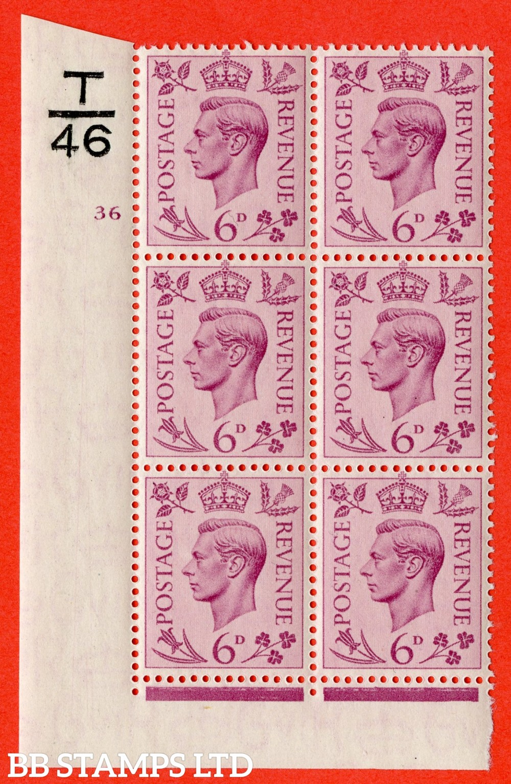 """SG. 470. Q22. 6d Purple. A superb UNMOUNTED MINT """" Control T46 cylinder 36 no dot """" control block of 6 with perf type 2 E/I."""