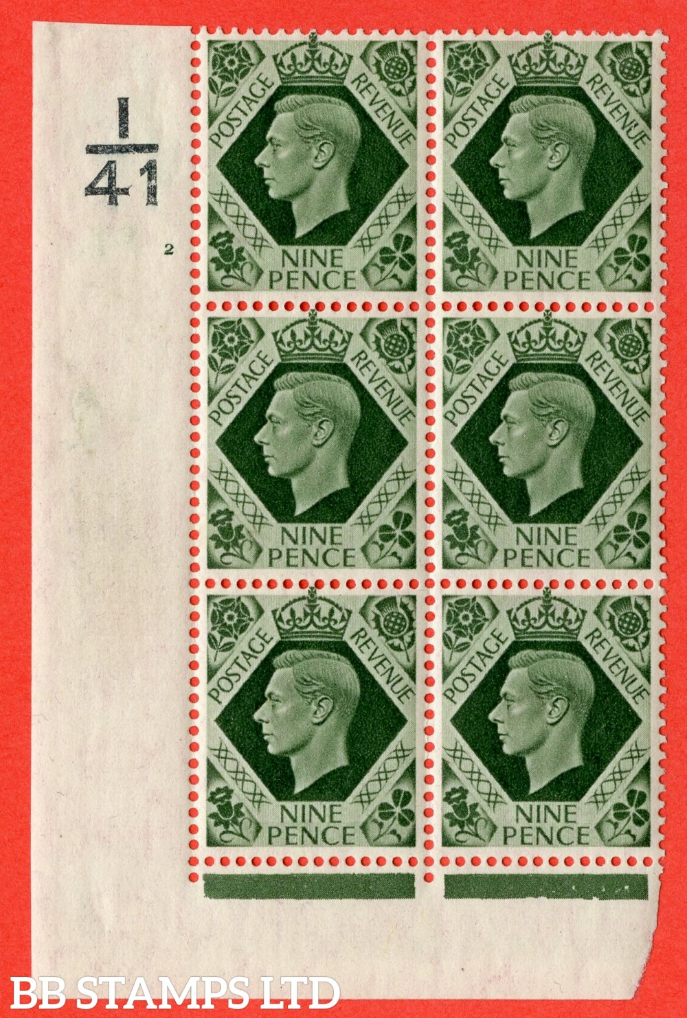 "SG. 473. Q25. b. 9d Olive-Green. A fine mounted mint "" Control I41 cylinder 2 no dot "" control block of 6 with perf type 2 I/E with listed variety "" Serif touched out but dot remains "" R18/1."