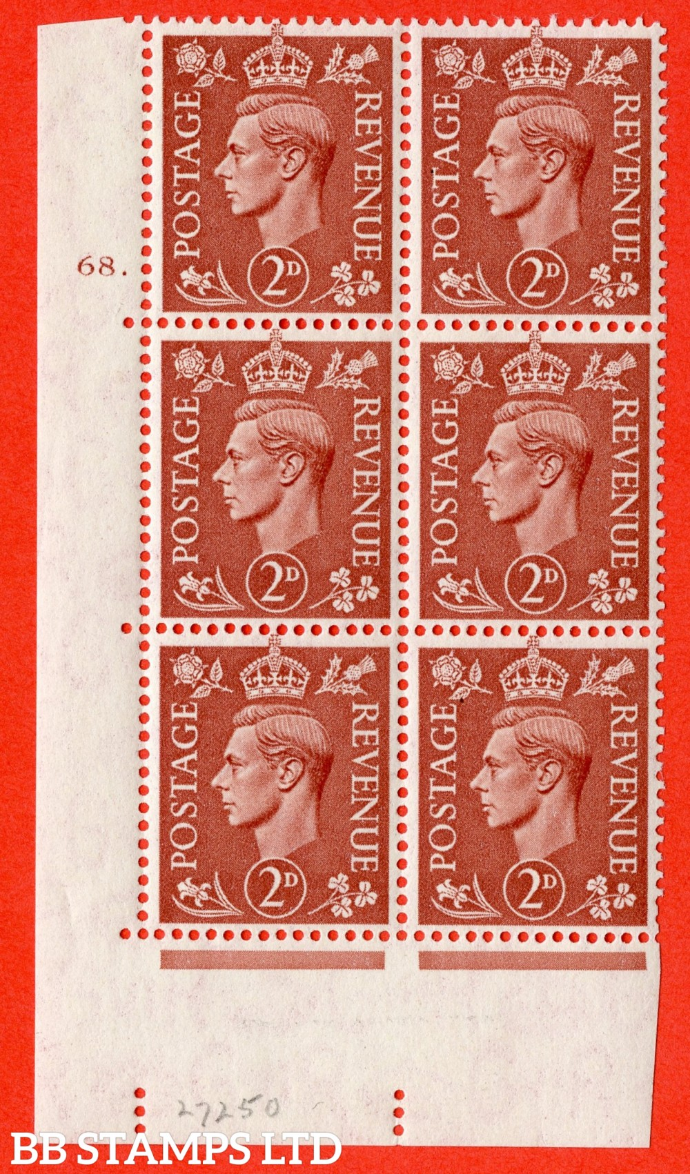 "SG. 506. Q12. 2d Pale Red-Brown. A fine lightly mounted mint "" No Control cylinder 68 dot "" control block of 6 with perf type 5 E/I."