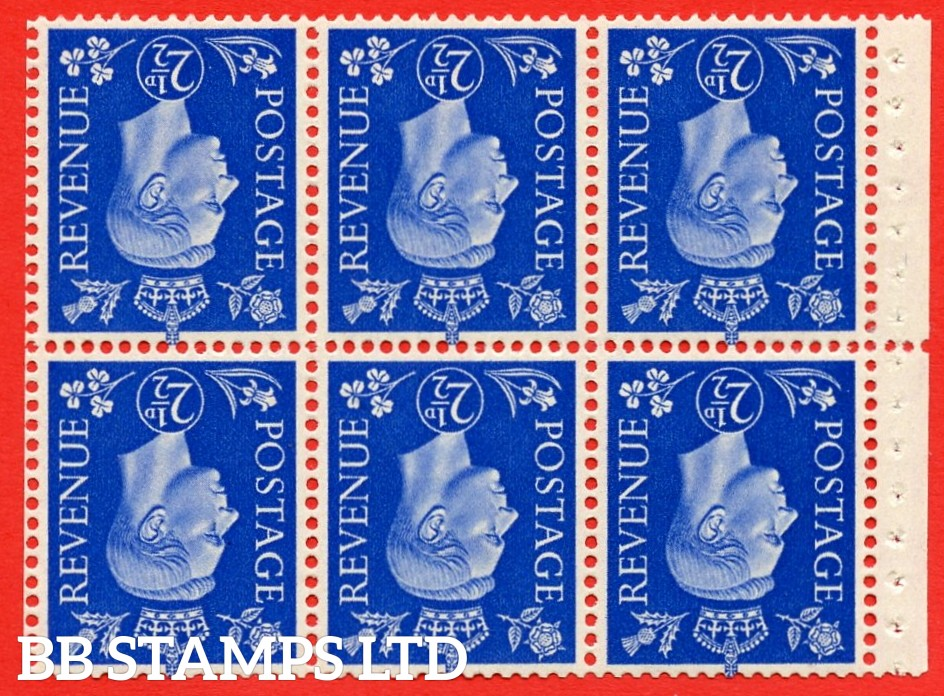 SG. 466 cw. QB32 a. 2½d Ultramarine. INVERTED WATERMARK. A superb UNMOUNTED MINT complete booklet pane of Six. Perf type P. Good Perfs.